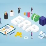 erp enterprise resource planning concept with team people and asset company with modern isometric style - vector